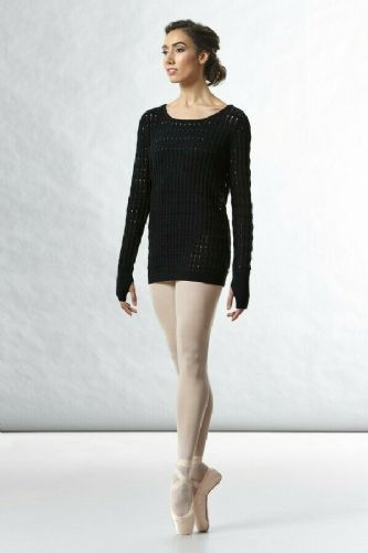 BLOCH Ladies Dance Cotton Textured Knit Longline Sweater Warm Up Z5529 Shina